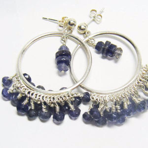 Bluish Violet Iolite, Silver, Hoop Earrings - Leila Haikonen Jewellery
