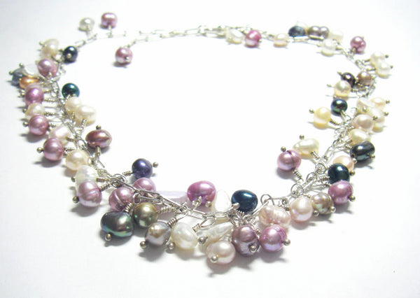 Lovely Multi Colored Pearls, Silver Necklace - Leila Haikonen Jewellery
