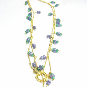 Lovely Tanzanite, Emerald, 24k Gold Vermeil, Sterling Silver Necklace - Leila Haikonen Jewellery