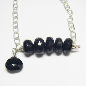 Black Tourmaline, Onyx Drops, Silver Chain Necklace - Leila Haikonen Jewellery