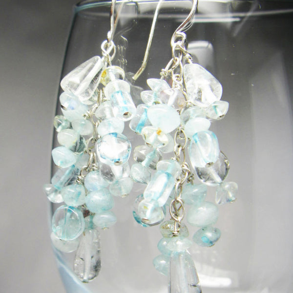 Long Blue Topaz Silver Cluster Earrings - Leila Haikonen Jewellery