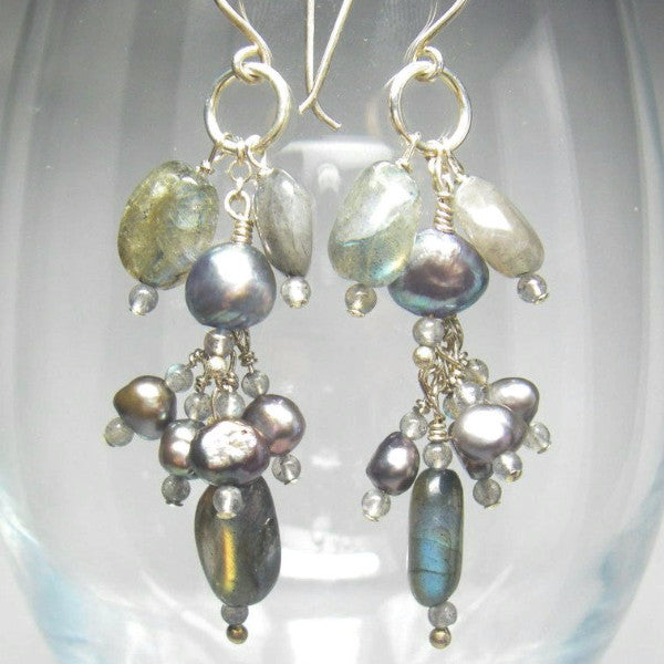 Long Blue Flash Labradorite Silver Cluster Earrings - Leila Haikonen Jewellery