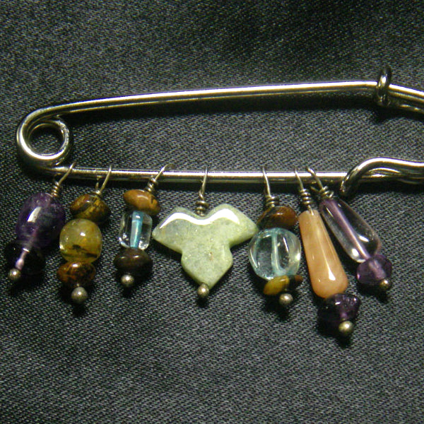 Lovely Amethyst, Aventurine, Tiger Eye, Blue Topaz Silver Brooch Kilt Pin - Leila Haikonen Jewellery
