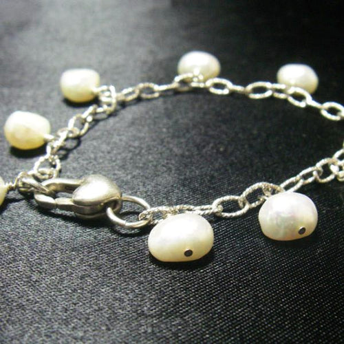 White Pearls, Silver Chain Heart Bracelet - Leila Haikonen Jewellery