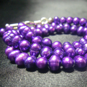 Lovely Purple Freshwater Pearl Silver Necklace - Leila Haikonen Jewellery