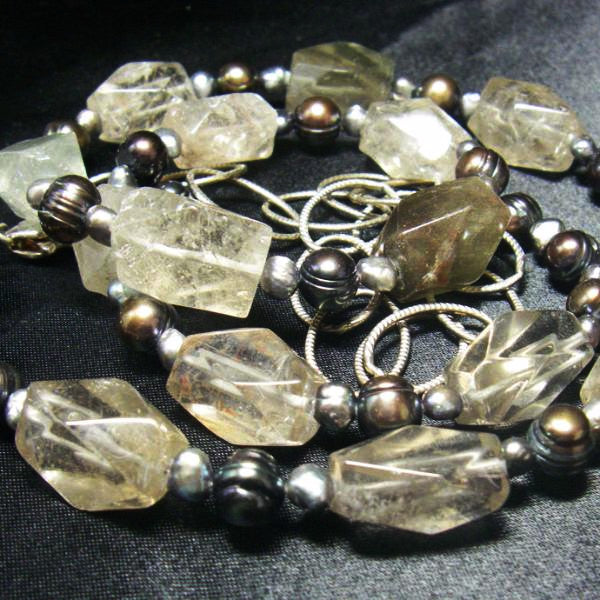 Rutilated Quartz, Black Pearl, Silver Chain Necklace - Leila Haikonen Jewellery