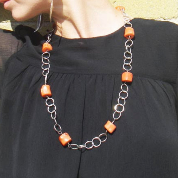 Orange Coral, Silver Chain Necklace - Leila Haikonen Jewellery