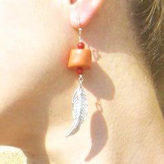 Pink Coral Feather Sterling Silver Earrings - Leila Haikonen Jewellery