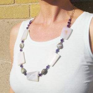 Grey Agate, Amethyst, Black Pearls, Silver Chain Necklace - Leila Haikonen Jewellery - 1
