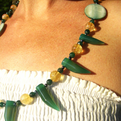 Oi Brazil, Green Agate, Citrine, Blue Pearls, Mother of Pearl Silver Necklace - Leila Haikonen Jewellery
