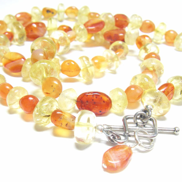 Carnelian & Citrine, Silver Necklace - Leila Haikonen Jewellery - 4