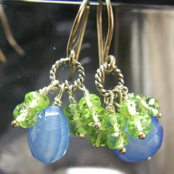 Blue Chalcedony, Green Peridot Silver Earrings - Leila Haikonen Jewellery