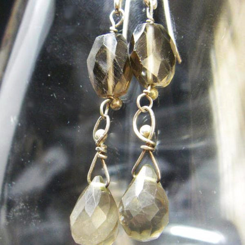 Smoky Quartz Silver Drop Earrings - Leila Haikonen Jewellery