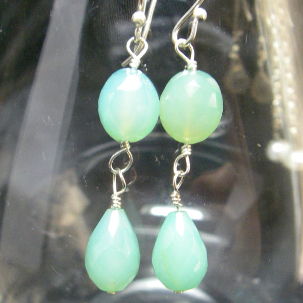 Aqua Chalcedony Drop Silver Earrings - Leila Haikonen Jewellery - 3