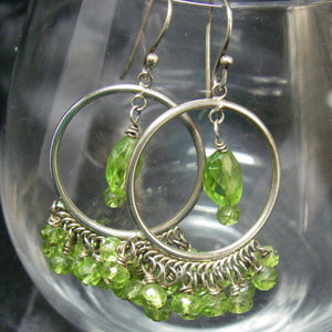 Green Peridot, Sterling Silver Hoop Earrings - Leila Haikonen Jewellery