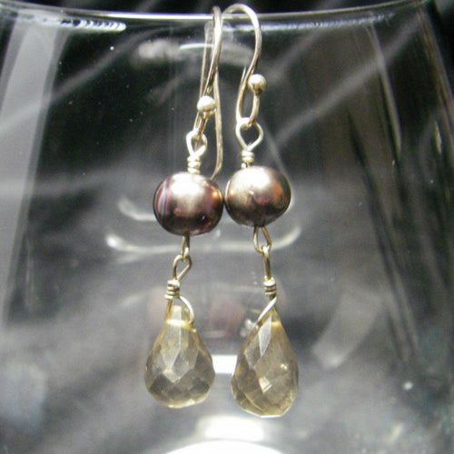 Smoky Quartz, Black Pearls Silver Drop Earrings - Leila Haikonen Jewellery