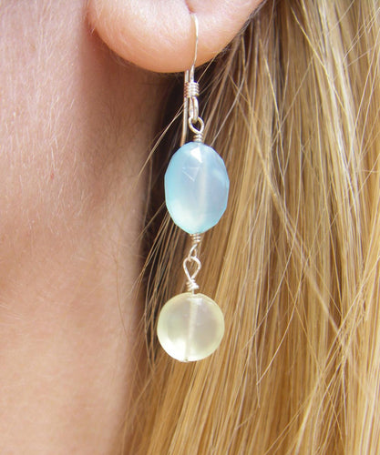 Lovely Blue & Yellow Chalcedony Silver Earrings - Leila Haikonen Jewellery