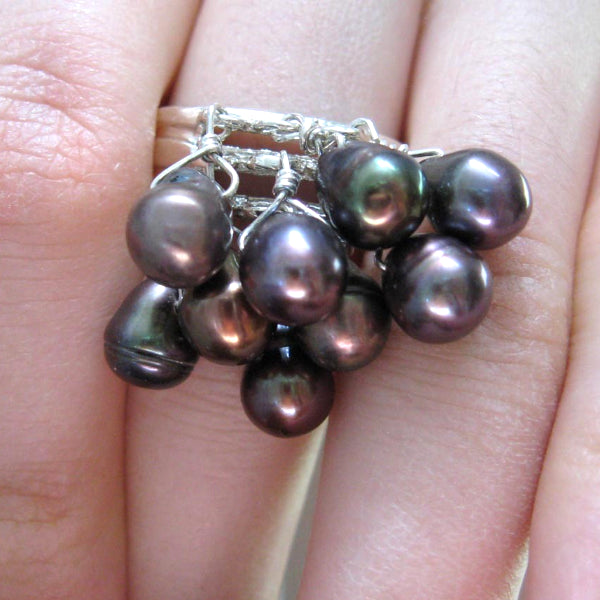 Black Pearls, Sterling Silver Cluster Cocktail Ring Size 9 - Leila Haikonen Jewellery - 2
