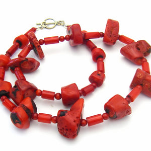 Red Coral Graduated, Silver Necklace - Leila Haikonen Jewellery