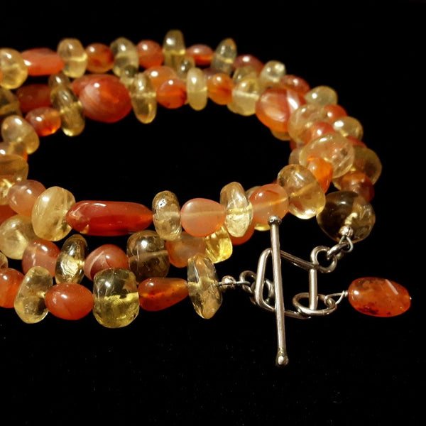 Carnelian & Citrine, Silver Necklace - Leila Haikonen Jewellery - 1