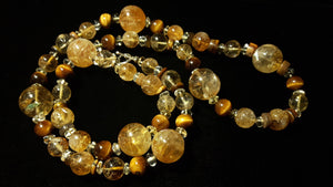 Golden Citrine, Tiger Eye & Silver Necklace - Leila Haikonen Jewellery
