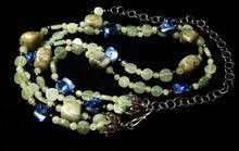 Labrdorite, Aventurine & Blue Shell Silver Necklace - Leila Haikonen Jewellery - 2