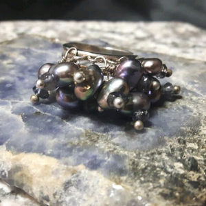 Black Pearl, Iolite, Silver Cocktail Cluster Ring Size 6 - Leila Haikonen Jewellery