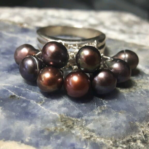 Black Pearls, Sterling Silver Cluster Cocktail Ring Size 9 - Leila Haikonen Jewellery - 1