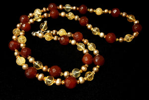 Carnelian & Citrine, Pearl Silver Necklace - Leila Haikonen Jewellery - 2