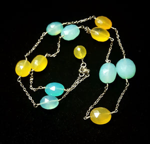 Yellow & Blue Chalcedony, Silver Chain Necklace - Leila Haikonen Jewellery