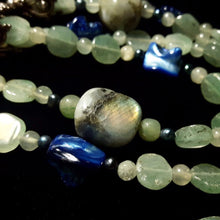Labrdorite, Aventurine & Blue Shell Silver Necklace - Leila Haikonen Jewellery - 3