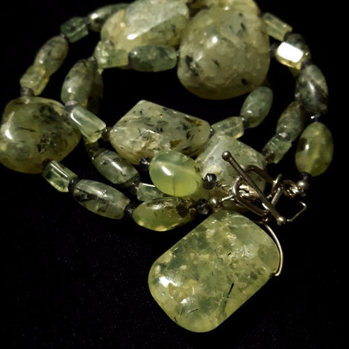 Prehnite & Iolite Silver Necklace - Leila Haikonen Jewellery
