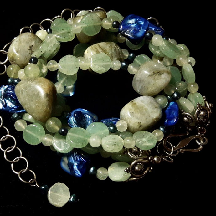 Labradorite, Aventurine & Blue Shell Silver Necklace - Leila Haikonen Jewellery