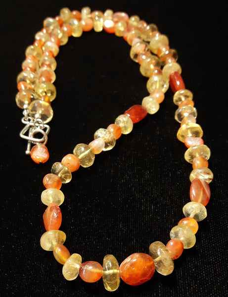 Carnelian & Citrine, Silver Necklace - Leila Haikonen Jewellery - 2
