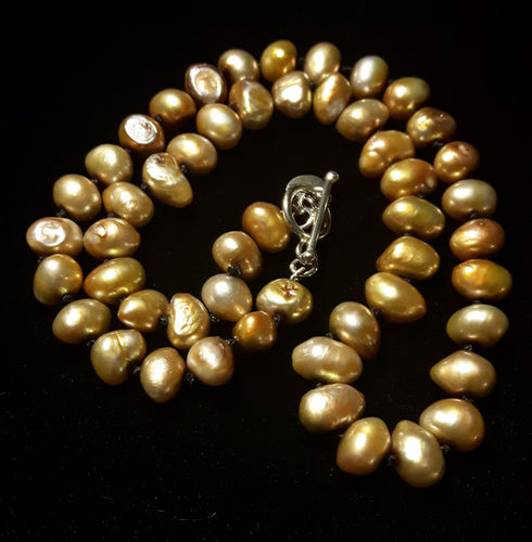 Golden Pearl Knotted Silver Necklace - Leila Haikonen Jewellery - 1