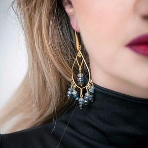 Sapphire Graduated Earrings 24k Gold Vermeil over Sterling Silver - Leila Haikonen Jewellery