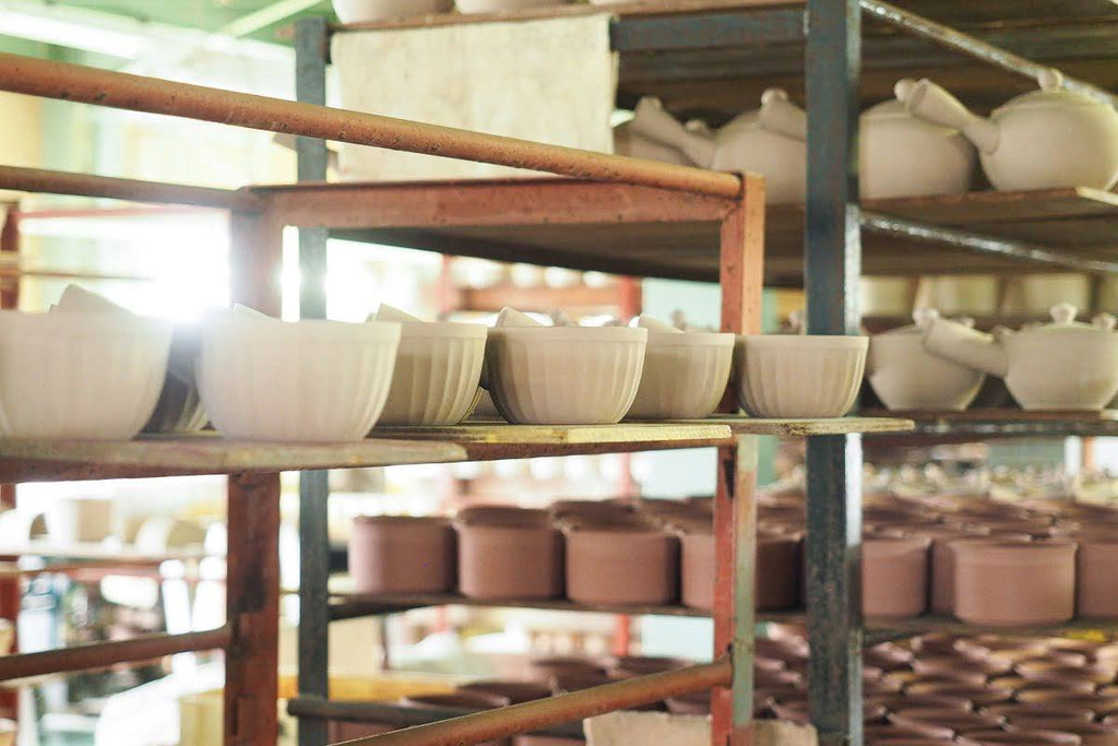 Various pottery in the middle of production