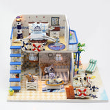 Hoomeda M032 Blue Seasidet DIY House With Furniture Music Light Cover Miniature Decor Toy