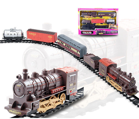 Classic Electric Smoking Assembling Track With Sound Steam Train For Kids Educational Gift Toys