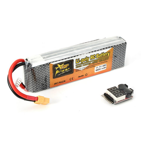 ZOP Power 11.1V 5500mAh 3S 45C Lipo Battery XT60 Plug With Remote Battery Monitor