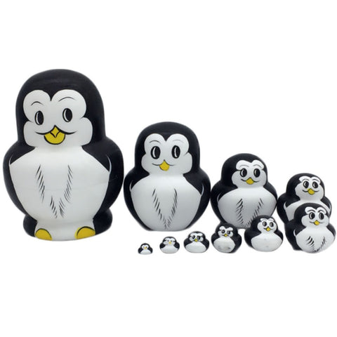 10 Pcs Wooden Penguin Animal Hand Painted Russian Nesting Doll Decor Gifts Toy