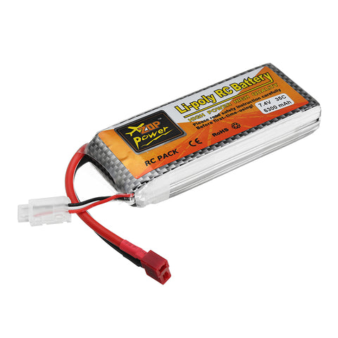 ZOP Power 7.4V 6300mAh 35C 2S Lipo Battery T Plug for RC Quadcopter RC Car