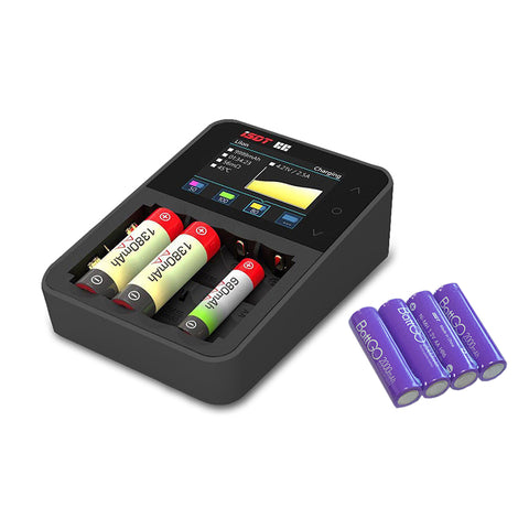 ISDT C4 8A Touch Screen Smart Battery Charger With 4Pcs 2000mAh AA Rechargeable Battery Limit Gift
