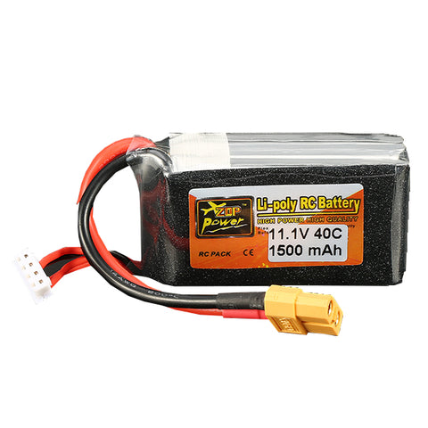 ZOP Power 11.1V 1500mAh 40C 3S Lipo Battery XT60 Plug