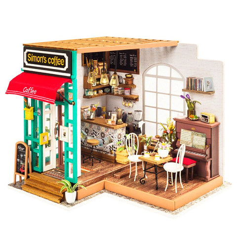 Robotime DG109 DIY Doll House Miniature Simon's Cafe Wooden Dollhouse Toy Decor Craft Gift