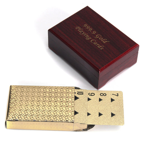 Gold Plated Poker Playing Cards With Wooden Box For Party Casino Christmas