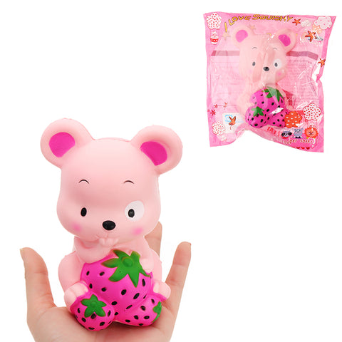 Squishy Strawberry Rat 13CM Slow Rising Soft Toy Stress Relief Gift Collection With Packing