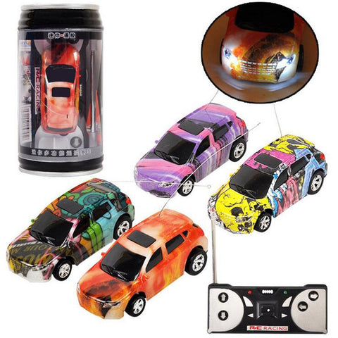 1PC Mini Coke Rc Car W/ LED Light Radio Control Micro Racing Toy Random Color