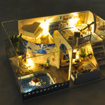 T-Yu TD14-Z Meet The Mediterranean Sea DIY Doll House With Cover Light Gift Collection Decor Toy