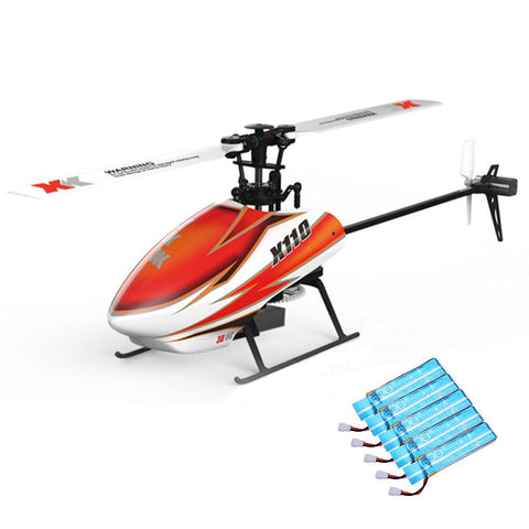 XK K110 Blast 6CH Brushless 3D6G System RC Helicopter BNF with 5PCS 520mAh Upgraded Battery
